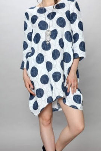 Luca Vanucci 100% Linen Dress White With Navy and Grey Circles
