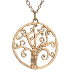 Curly branch tree pendant necklace copper