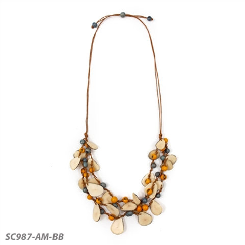 "Tagua and Acai Berry Marcela Necklace 24""- 36"" in Yellow and Blue"