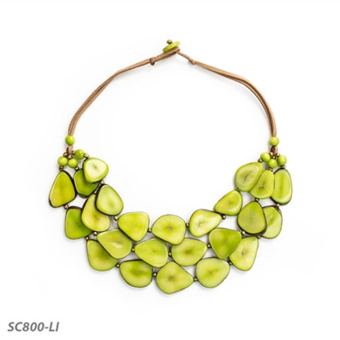 """Tagua 3-Tiered Alma Necklace 20"""" in Lime"""