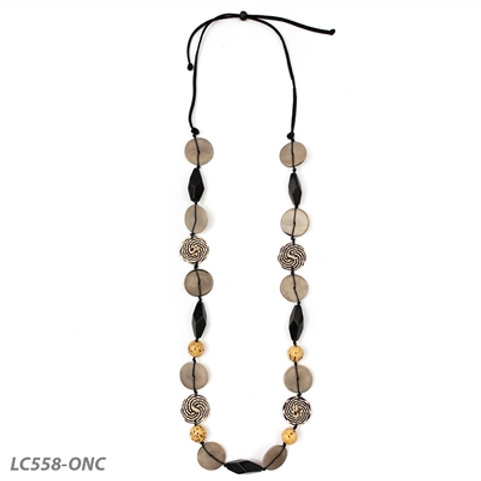 """Tagua and Straw Pierina Necklace in Black and Natural  31""""-50"""" Adjustable"""