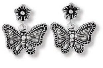 Butterfly dangle stud earring sterling silver