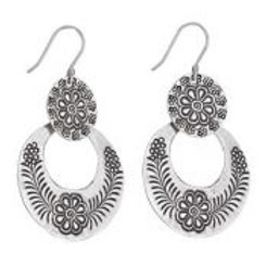 Large double flower ring earring sterling silver