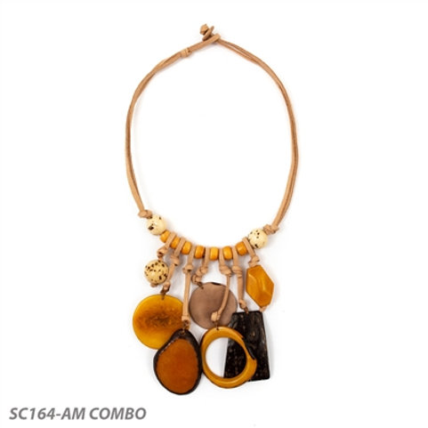 Tagua Consuelo Necklace in Yellow Combo 20""