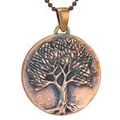 Round tree pendant necklace oxidized copper