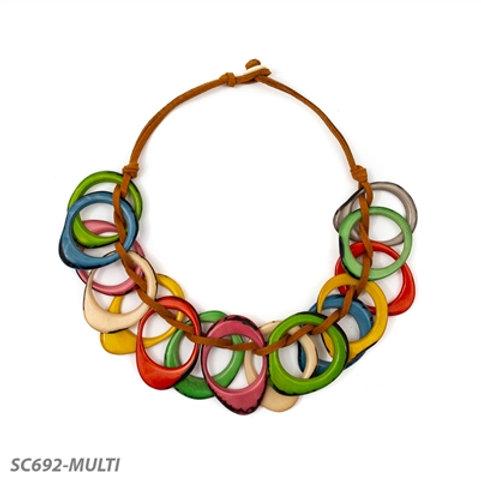 """Tagua Dawn Necklace 22"""" Multi-Color"""