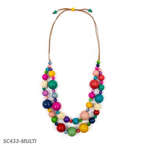 "Tagua and Straw Lucy Necklace 22""-29"" in Multi-Color"