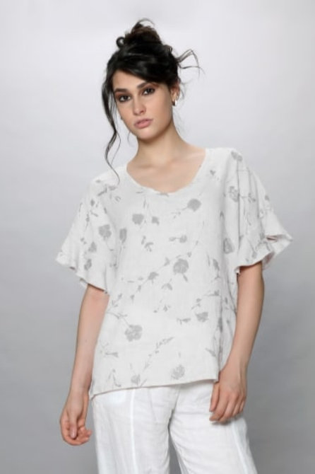 Luca Vanucci 100% Linen Top White With Grey Floral (as shown in picture)