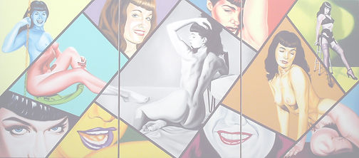 Bettie Page-oil on canvas-triptych 72''