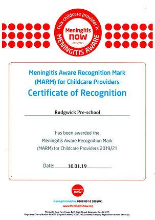 MARM Certificate Rudgwick Pre-school.JPE