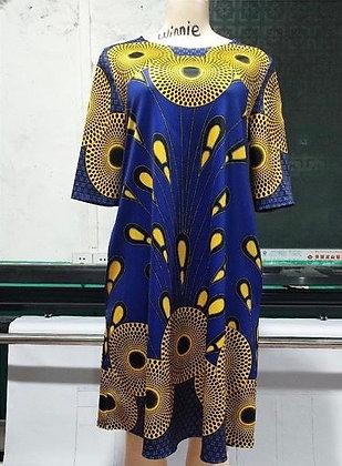 African Peacock Printed Tunic BLU