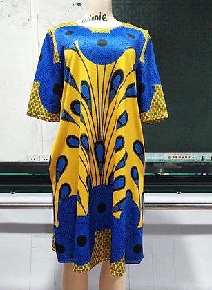 African Peacock Printed Tunic YEL