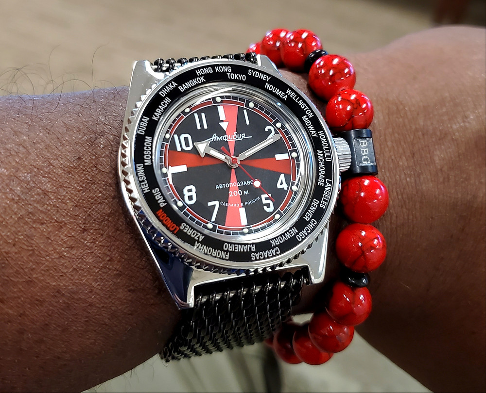 WOTD wrist-shot of the Vostok, Amphibia, Radio Room.  Paired custom-crafted bracelet, designed by Beads By Gonzo.