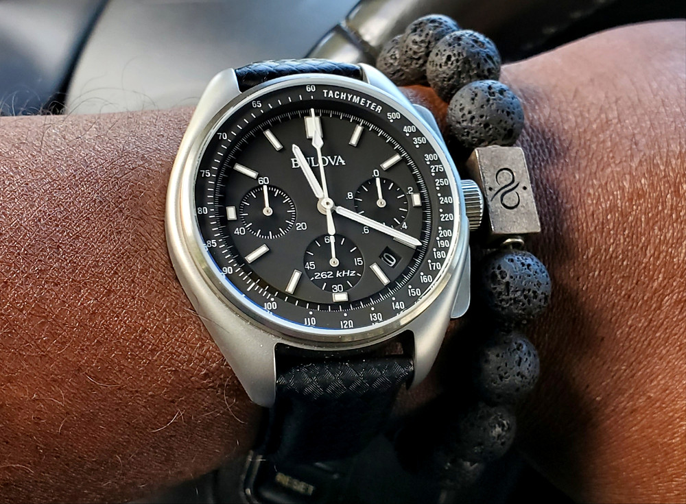 WOTD wrist-shot of the Bulova, Lunar Pilot, Special Edition.  Paired with a Premium, Lava stone bracelet, designed by Aurum Brothers.