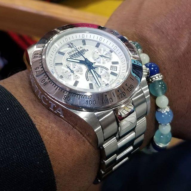 WOTD wrist-shot of the Invicta Reserve, Dubois-Depraz ETA Modified, Automatic Speedway Chronograph, paired with a custom, matching beaded bracelet.