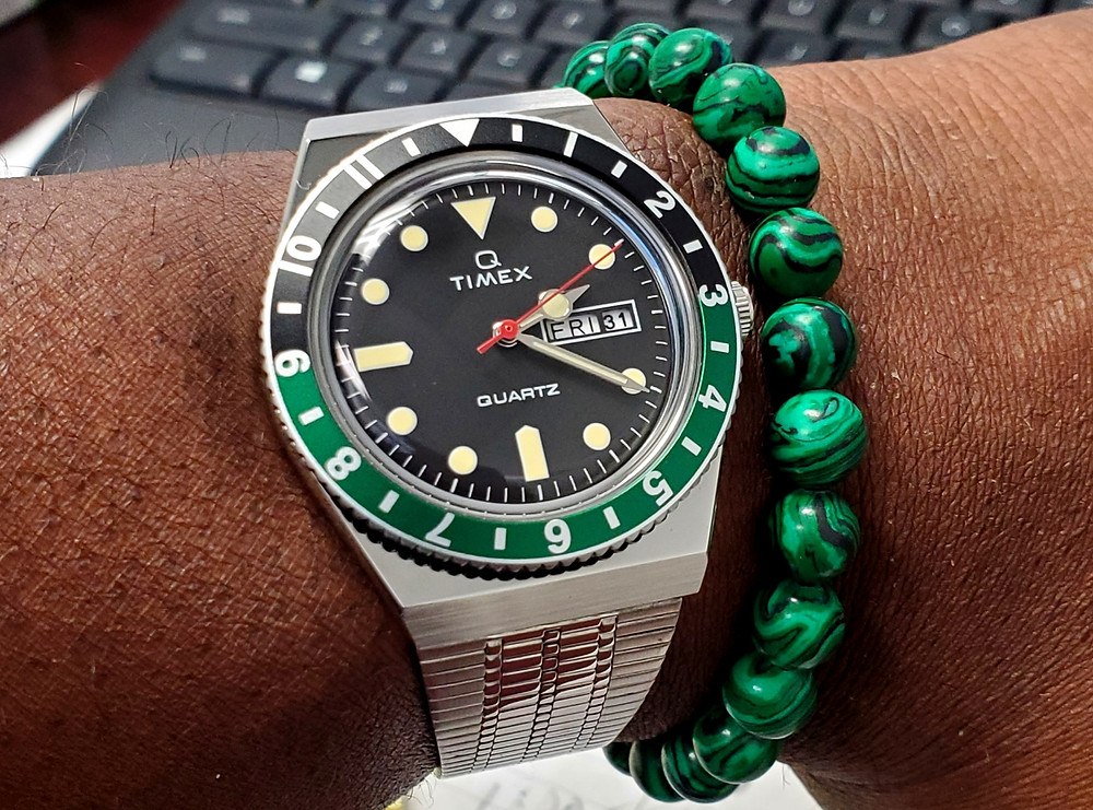 WOTD wrist-shot of the Timex Q.  Paired with a color-matched, Malachite bracelet, designed by Monooc Gifts for Men.