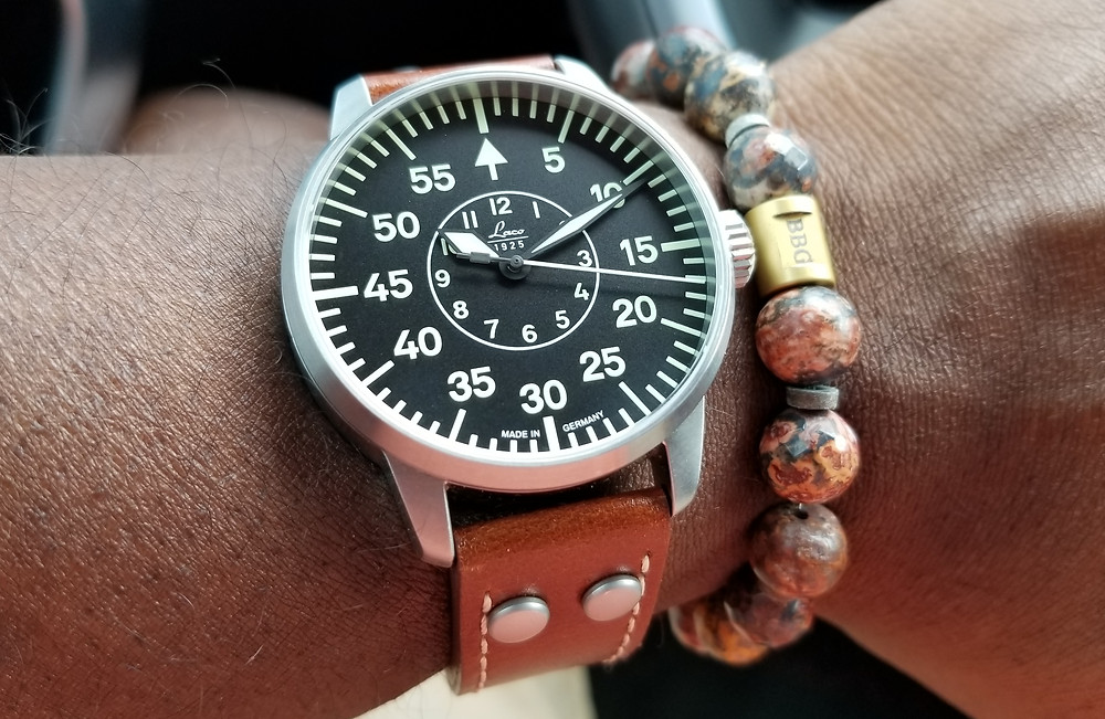 WOTD Wrist Shot of the Laco, Type B, Aachen Pilot Watch, paired with a custom designed Beads by Gonzo bracelet.
