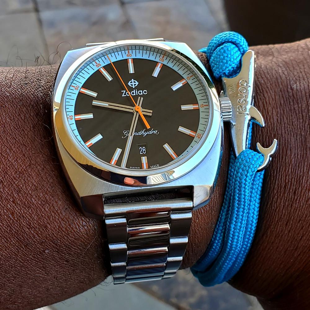 WOTD wrist-shot of the Zodiac, Grandhydra.  Paired with a Shark, rope bracelet, designed by Dorsal Bracelet Company,