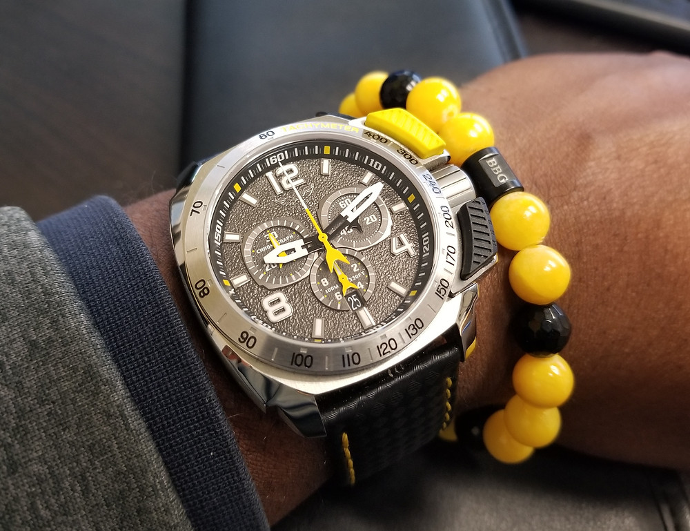WOTD wrist shot of the Aviator, SWIFTS Flight Team, Professional Chronograph, Limited Edition, paired with custom beaded bracelet by Beads By Gonzo.