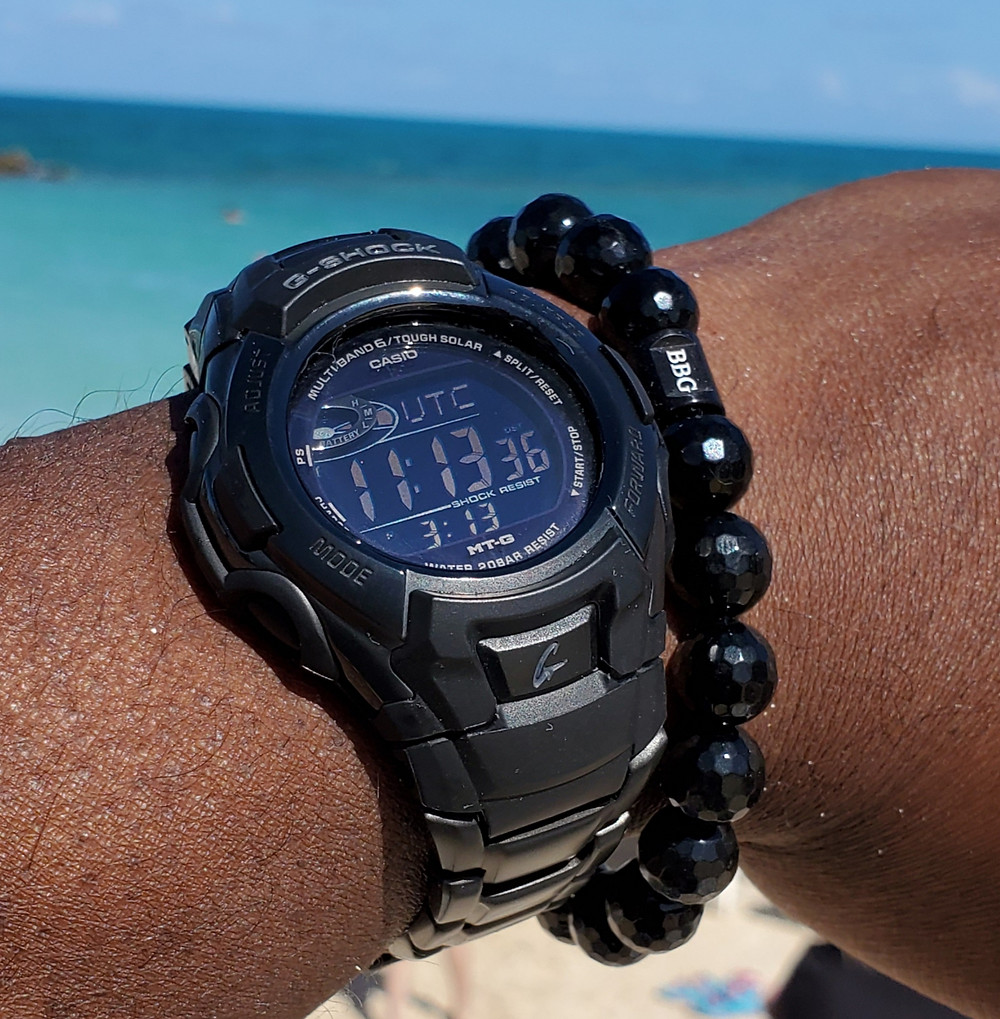 WOTD wrist-shot of the Casio, G-Shock, Tough Solar.  Paired with a custom-crafted bracelet, designed by Beads By Gonzo.