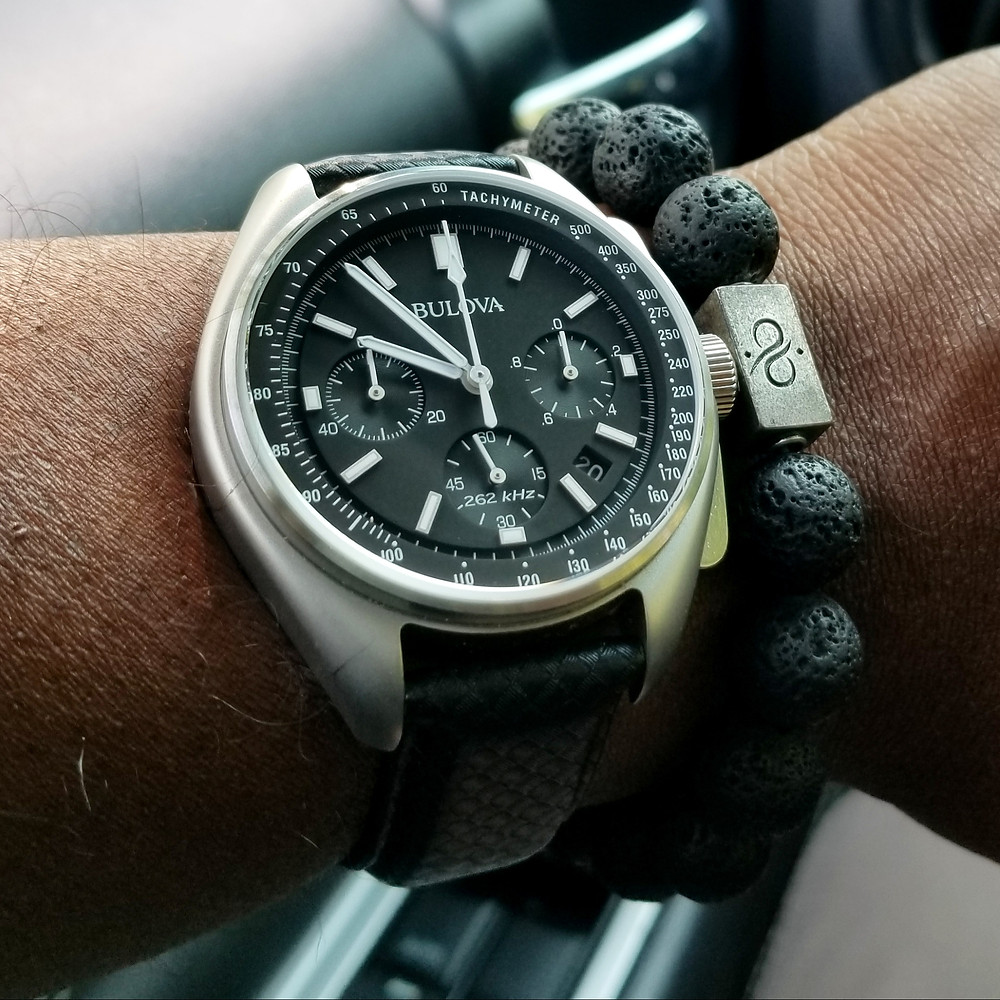 WOTD wrist-shot of the Bulova, Lunar Pilot - Special Edition.  Paired with large gauge lava stones, designed by Aurum Brothers.