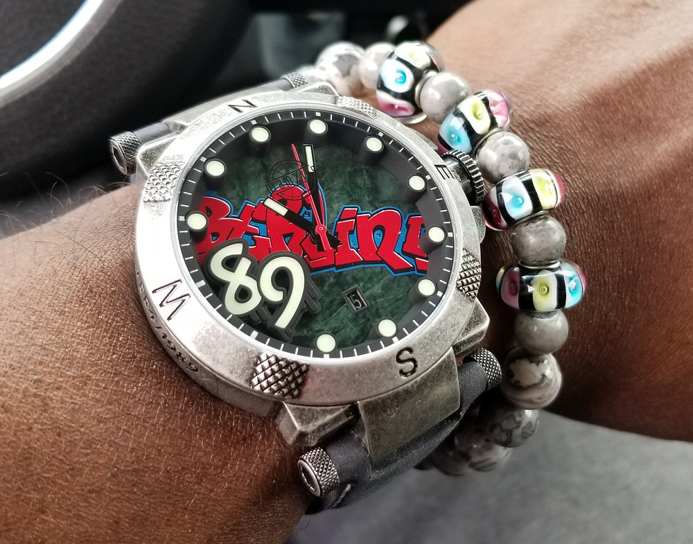 WOTD wrist-shot of the Pramzius, Fall of the Berlin Wall, Limited Edition.  Paired with a custom-crafted bracelet, created by Beads By Gonzo.