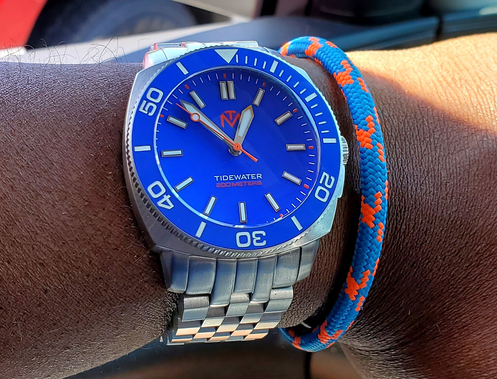 WOTD wrist-shot of the McDowell Time, Tidewater.  Paired with a marine-grade, rope bracelet, designed by Roplet UK.