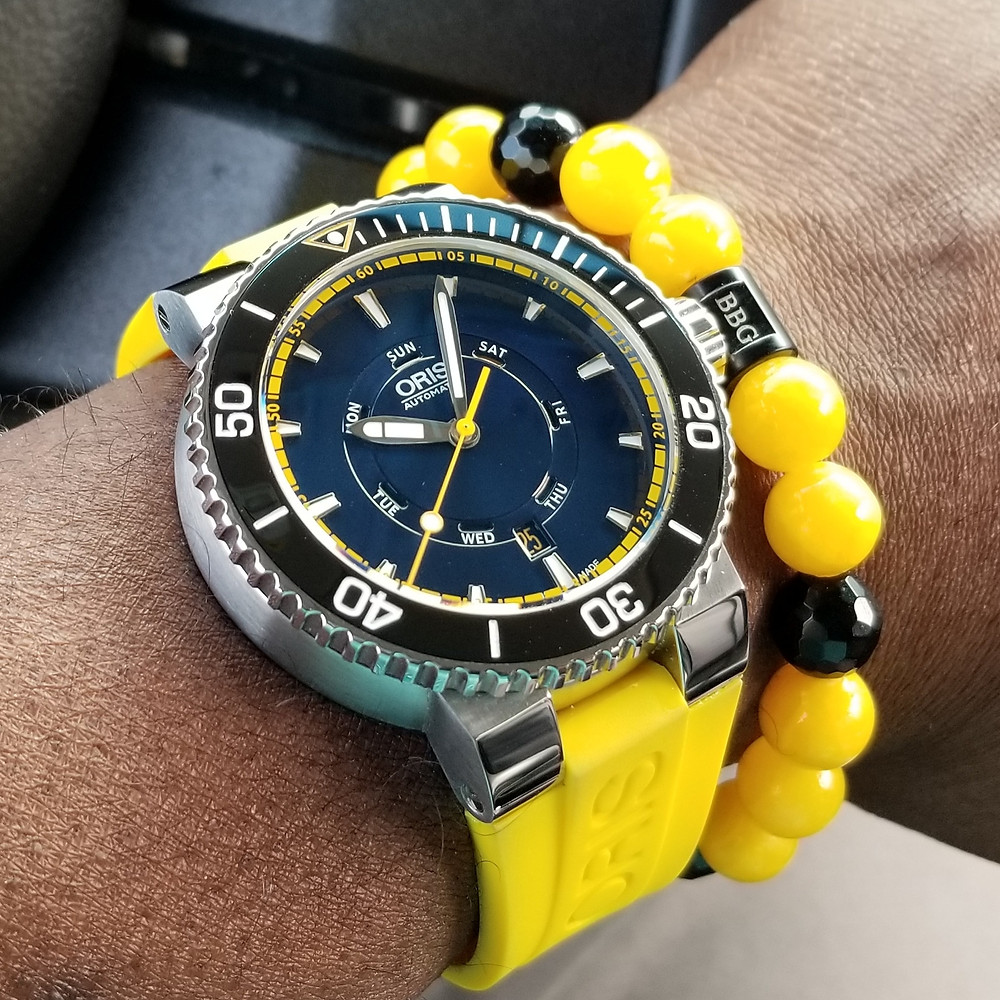 WOTD wrist-shot of the Oris, Aquis, Great Barrier Reef, Limited Edition II.  Paired with a custom-designed, beaded bracelet, crafted by Beads By Gonzo.