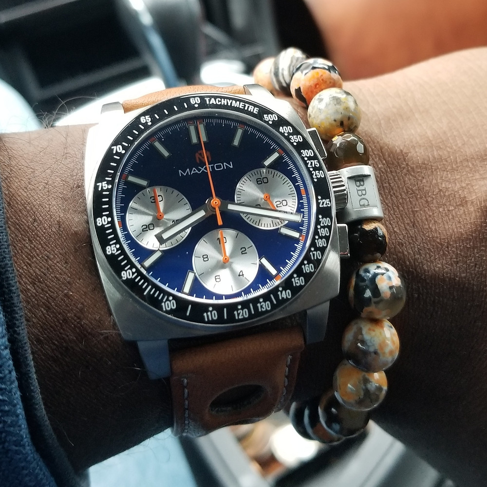 WOTD wrist-shot of the McDowell Time, Maxton Chronograph, paired with a custom beaded bracelet designed by Beads By Gonzo.
