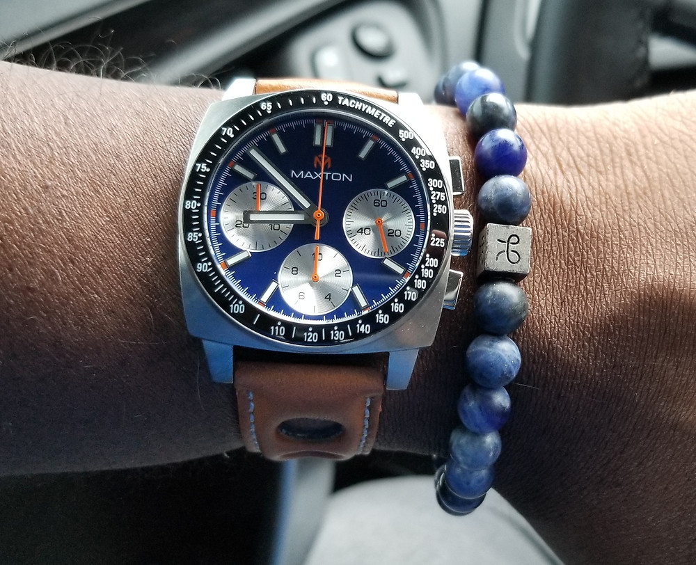 WOTD wrist shot of the McDowell Time, Maxton Chronograph, accompanied by beaded bracelet from Aurum Brothers.