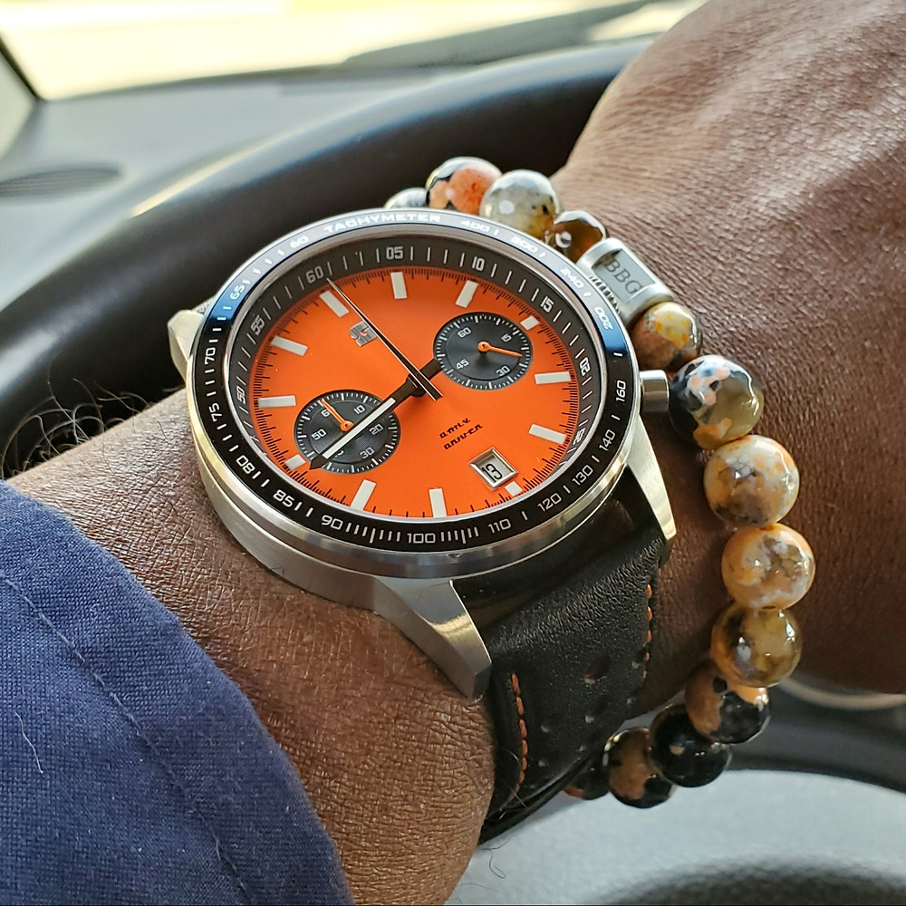 WOTD wrist-shot of the Straton Watch Company, Daily Driver, Racing Chronograph.  Paired with a custom-crafted bracelet, designed by Beads By Gonzo.