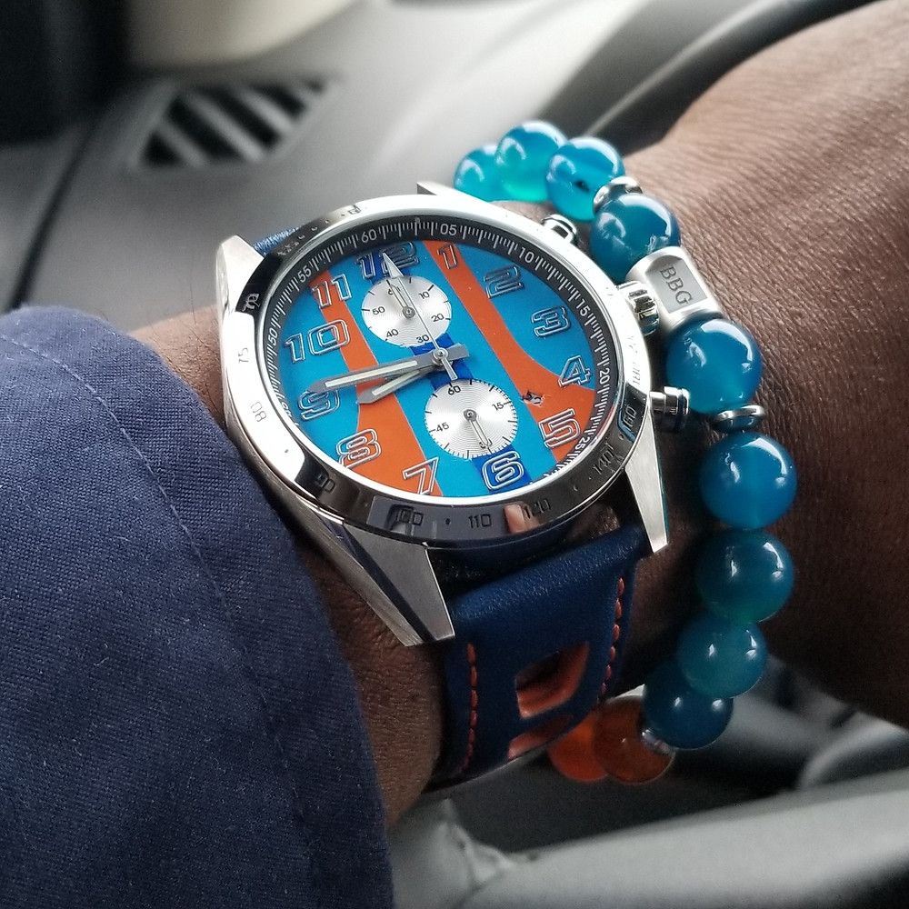 "WOTD wrist-shot of the Szanto, Danny Sullivan ""Icon Series"" Racing Chronograph Mod.  Paired with a custom, beaded bracelet, designed by Beads By Gonzo."