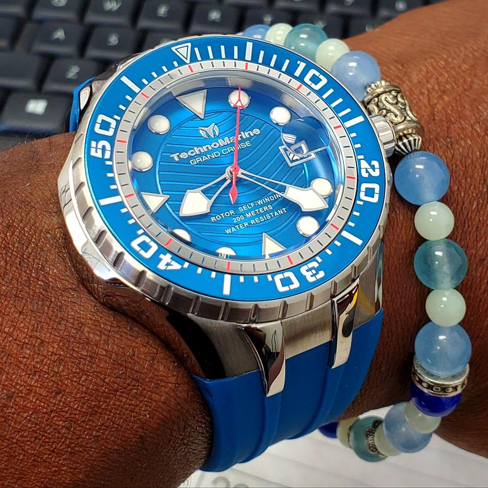 WOTD wrist-shot of the TechnoMarine, Blue Reef Diver.  Paired mixed-gauge stone, custom bracelet.