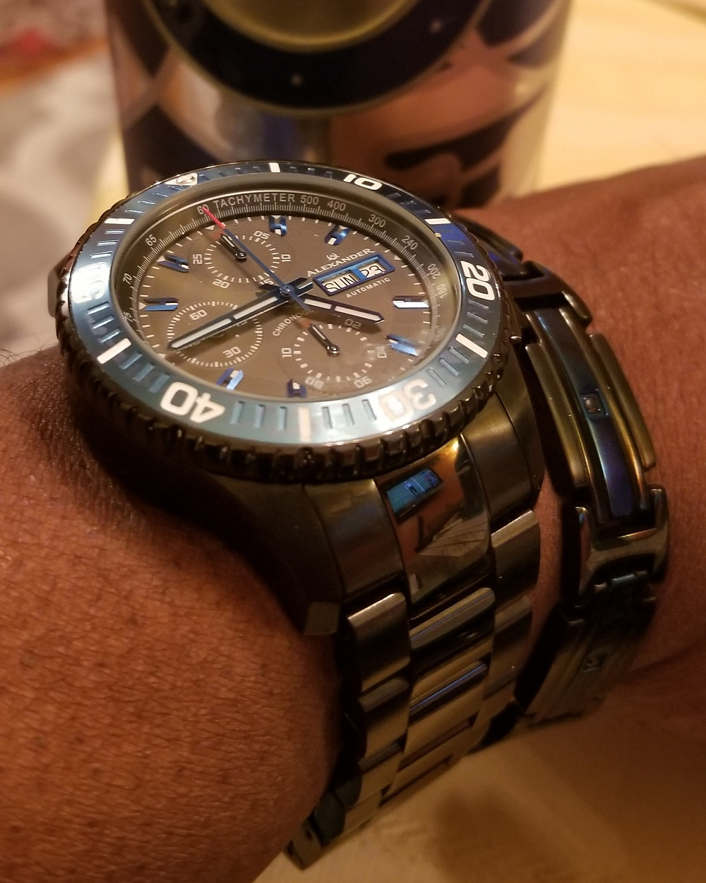 WOTD wrist-shot of the Alexander Olyn, A420, Swiss Valjoux 7750, Automatic Chronograph, paired with a flat bracelet, designed by INOX.