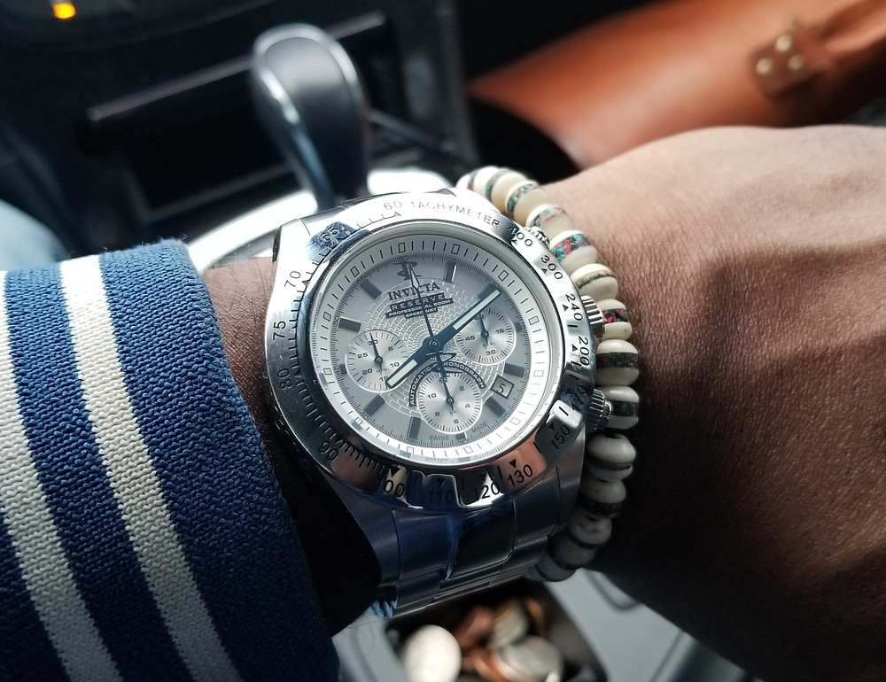 WOTD wrist-shot of the Invicta Reserve, Dubois-Depraz, Speedway, Automatic Chronograph, Limited Edition.  Paired with a copper-infused, Yak Bone, beaded bracelet.