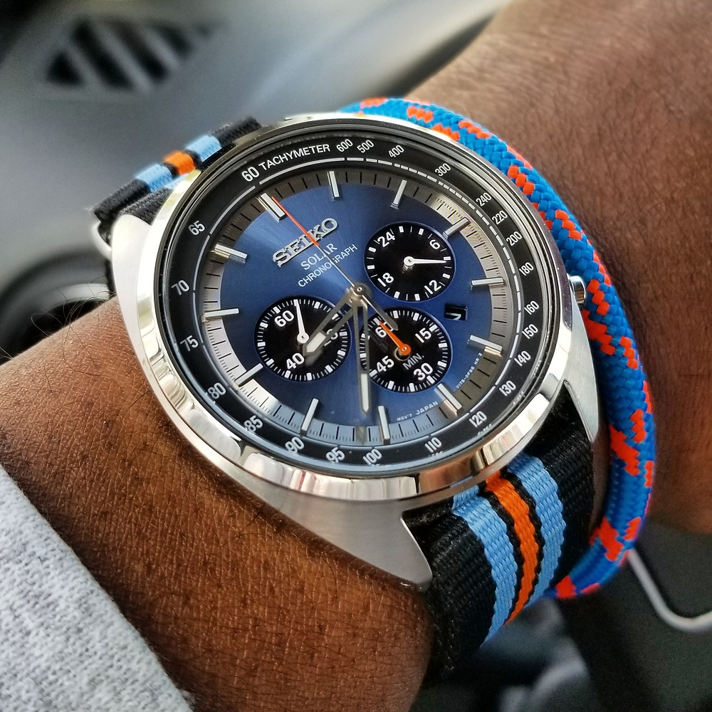 Seiko Recraft, Solar Chronograph.  Paired with marine-grade rope bracelet, designed by Roplet.