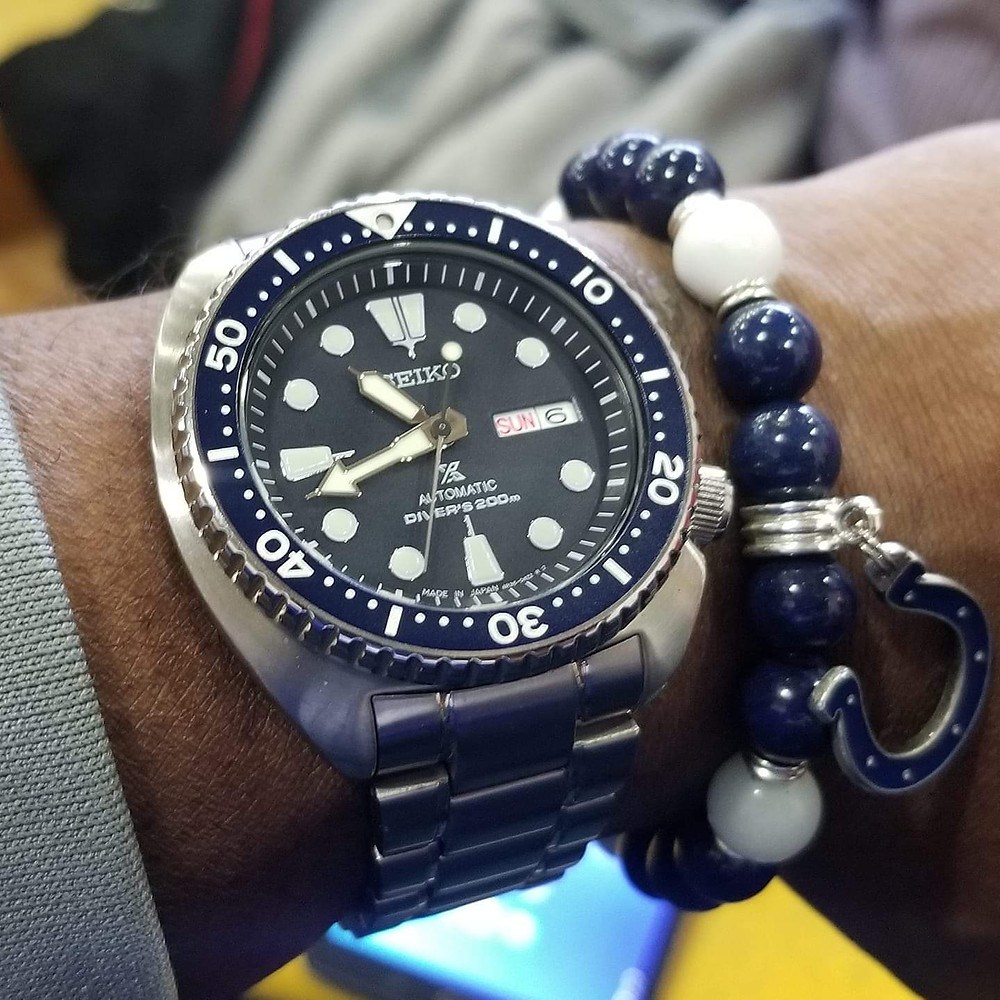 "WOTD wrist-shot of the Seiko, Prospex Diver, a/k/a ""Turtle"", paired with a custom, beaded bracelet, designed by Beads By Gonzo."