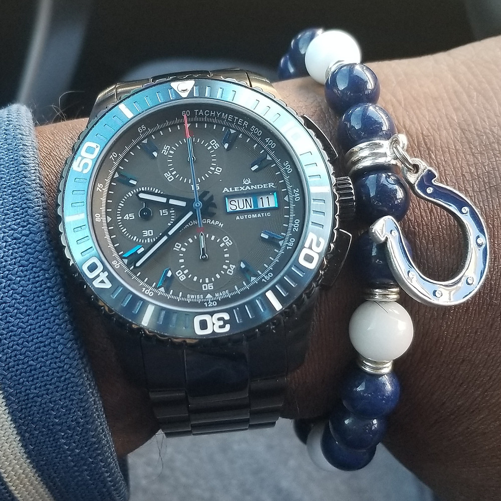 WOTD wrist-shot of the Alexander Olyn, A420, Automatic Chronograph, Valjoux 7750, paired with a custom-designed, beaded bracelet by Beads By Gonzo.