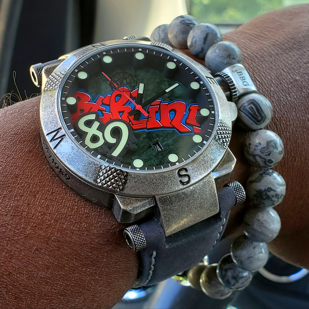 WOTD wrist-shot of the Pramzius, Berlin Wall Watch, Limited Edition.  Paired with a custom-crafted bracelet, designed by Beads By Gonzo.