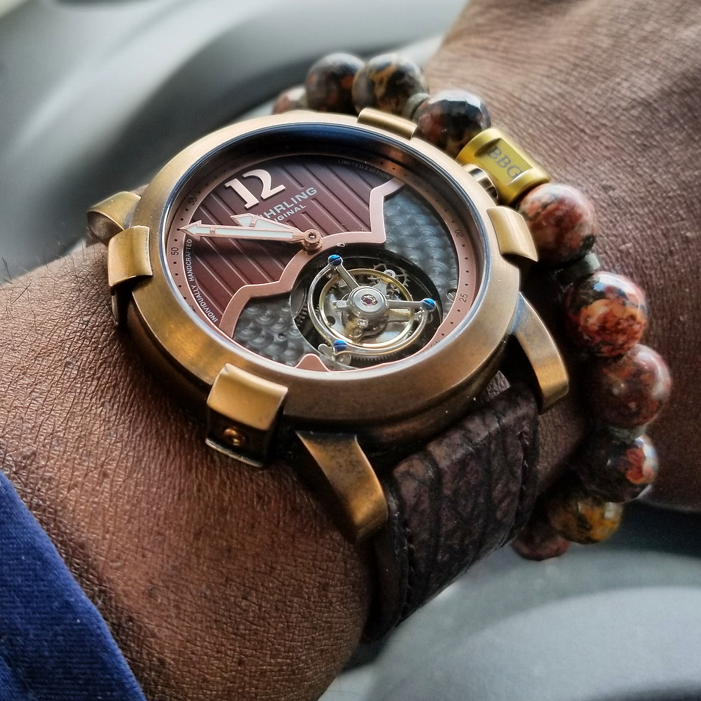 Watch of the Day wrist-shot of the Stuhrling Original, Devilray Tourbillon, Limited Edition.  Paired with a custom bracelet, designed by Beads By Gonzo.