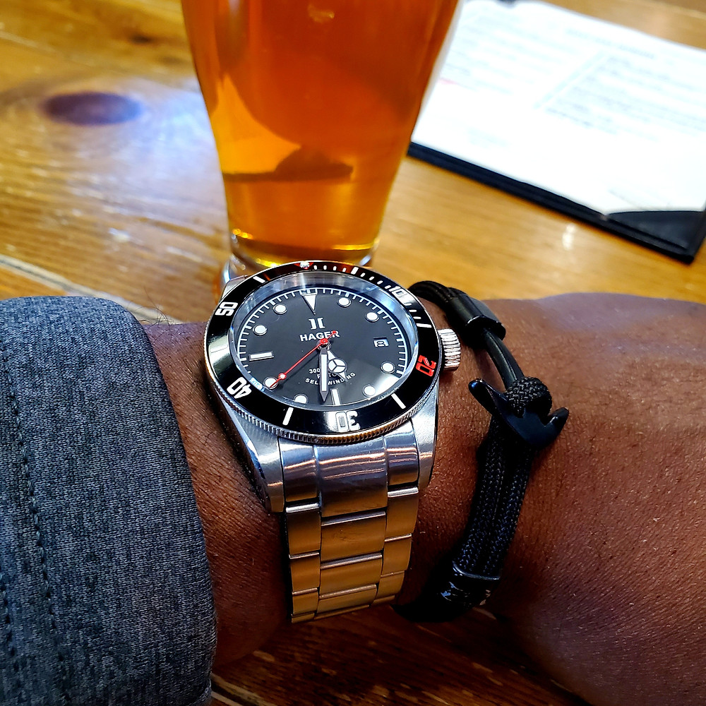 WOTD wrist-shot of the Hager Watch, Aquamariner Diver.  Paired with an Obsidian, Anchor rope bracelet, designed by Dorsal Bracelet Company.