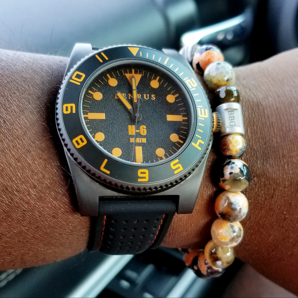 WOTD wrist-shot of Benrus, H-6, Mil-Spec Diver.  Paired with a custom-crafted bracelet, designed by Beads By Gonzo.