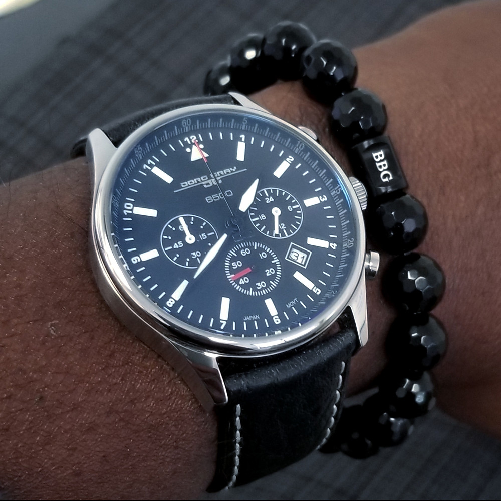 WOTD wrist-shot of the Jorg Gray, 6500 Chronograph, Presidential, Limited Edition.  Paired with a custom-crafted bracelet, designed by Beads By Gonzo.