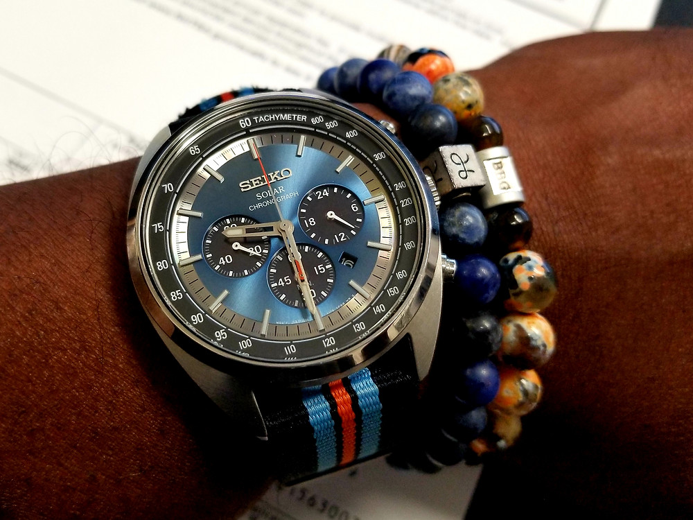 WOTD wrist-shot of the Seiko Recraft, Solar Chronograph, paired with beaded bracelets from Aurum Brothers and Beads by Gonzo.