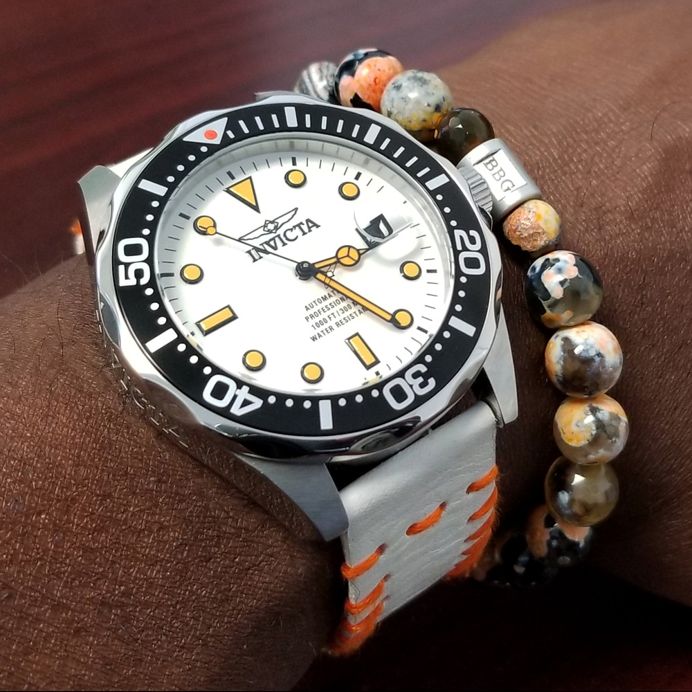 "WOTD wrist-shot of Invicta, ""Creamsicle"" Grand Diver Automatic.  Paired with a custom-crafted bracelet, designed by Beads By Gonzo."