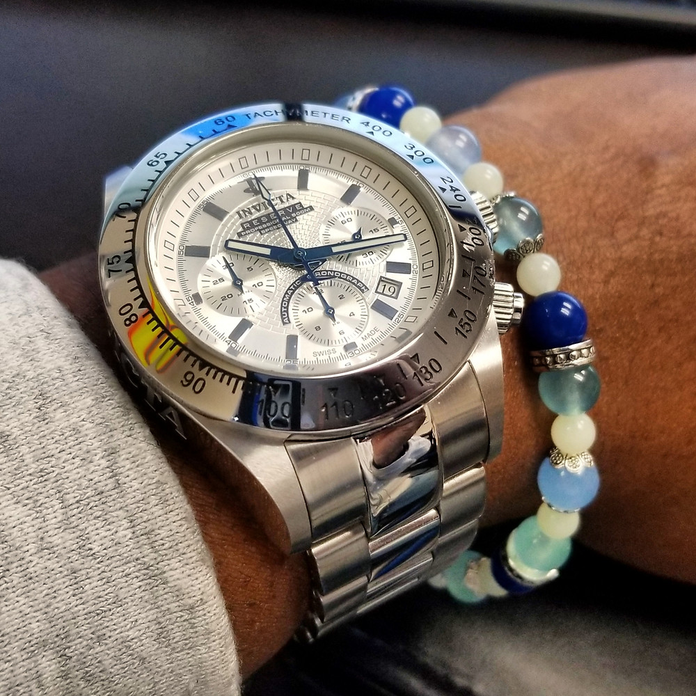WOTD wrist-shot of the Invicta Reserve, Dubois-Depraz ETA Modified, Speedway Chronograph, Limited Edition, paired with a custom-made, color-coordinated, beaded bracelet.
