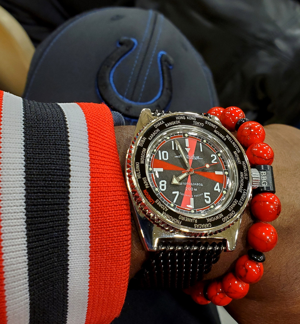 WOTD wrist-shot of the Vostok, Amphibian - Radio Room, Mod.  Paired with a custom-crafted bracelet, designed by Beads By Gonzo.