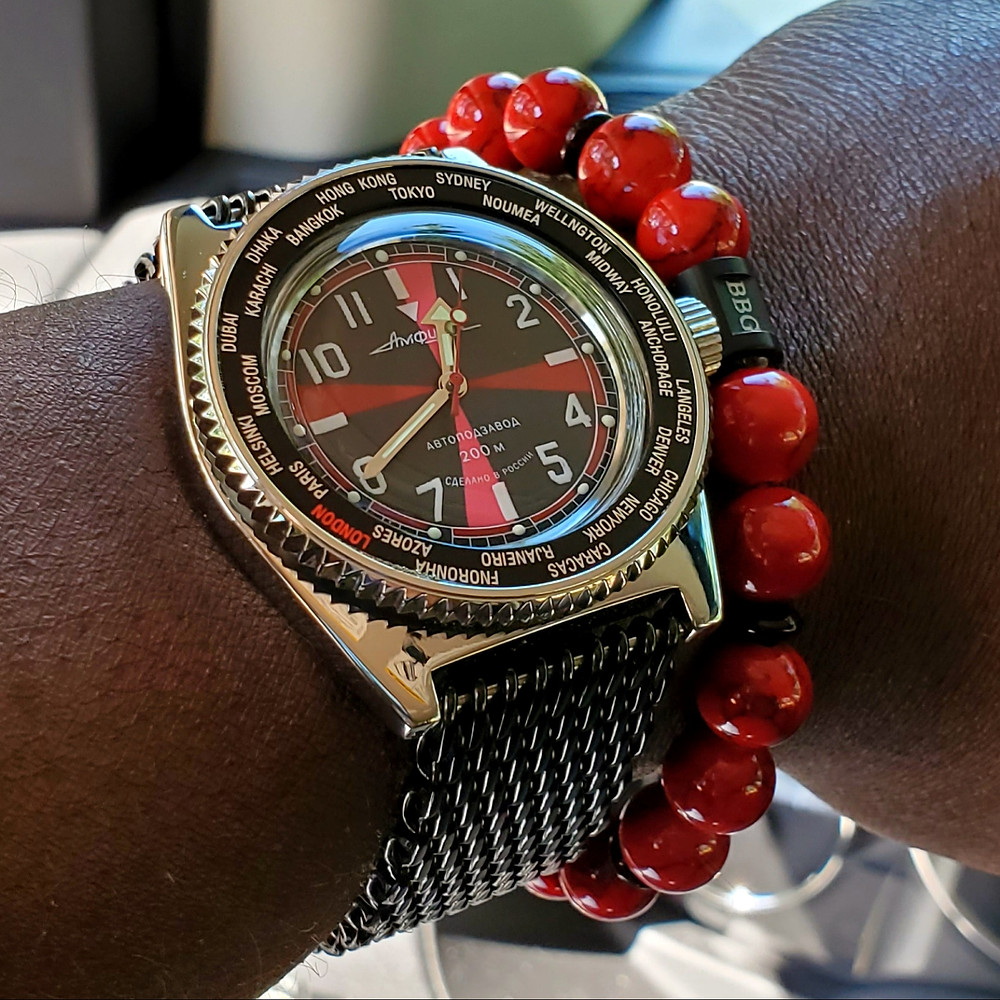 WOTD wrist-shot of the Vostok, Amphibian, Radio Room Mod.  Matched with a custom bracelet, designed by Beads By Gonzo.