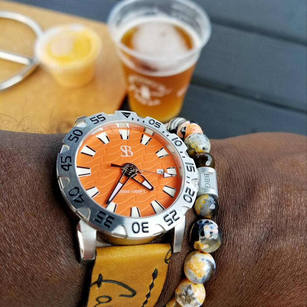 WOTD wrist-shot of the Smith & Bradley, Wraith Diver.  Paired with a custom bracelet creation, designed by Beads By Gonzo.