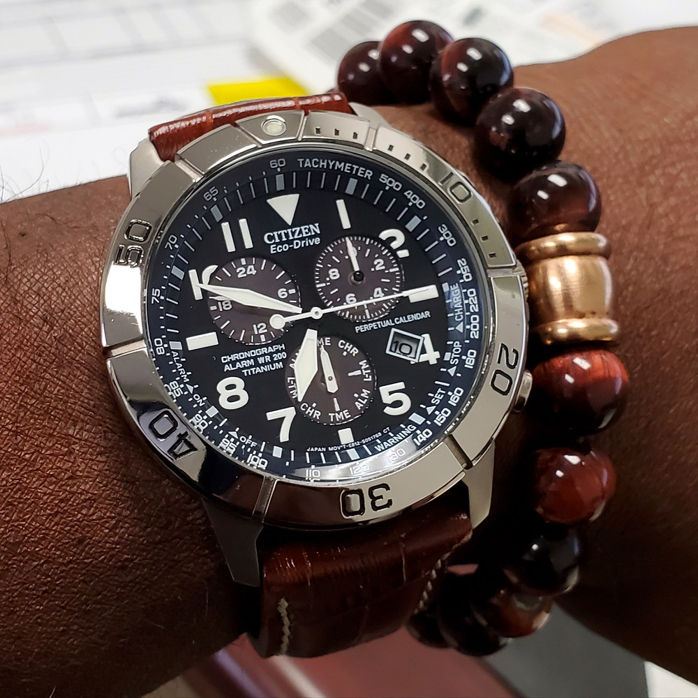 WOTD wrist-shot of the Citizen Eco-Drive, Pilot Chronograph.  Paired with a Tiger's-Eye beaded bracelet.